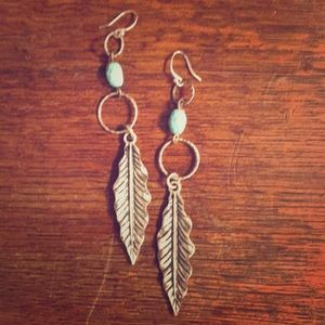 Lucky Brand Feather Turquoise Earrings